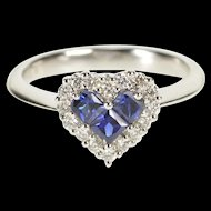 14K 0.57 Ctw Heart Sapphire Diamond Halo Engagement Ring Size 7 White Gold [QRXS]