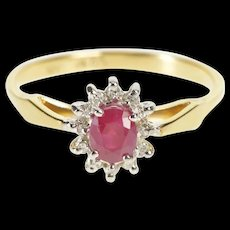 14K 0.43 Ctw Oval Ruby Diamond Halo Engagement Ring Size 7 Yellow Gold [QRXR]