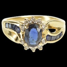 10K 1.45 Ctw Oval Sapphire Diamond Engagement Ring Size 5.25 Yellow Gold [QRXR]