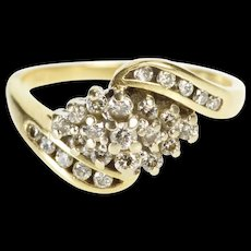 14K 1/3 cttw Oval Diamond Cluster Freeform Fashion Ring Size 7 Yellow Gold [QRXR]