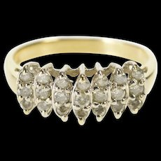 10K Tiered Diamond Inset Squared Cluster Band Ring Size 6.5 Yellow Gold [QRXR]
