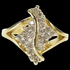 14K Wavy Curvy Diamond Cluster Bypass Fashion Ring Size 3.75 Yellow Gold [QRXR]