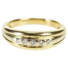 14K Men's Diamond Five Stone Classic Wedding Band Ring Size 11 Yellow Gold [QWQQ]