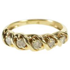 10K Five Stone Diamond Wavy Pattern Wedding Band Ring Size 5.25 Yellow Gold [QWQQ]
