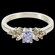 10K Oval Tanzanite Diamond Accent Engagement Ring Size 7 White Gold [QRXR]