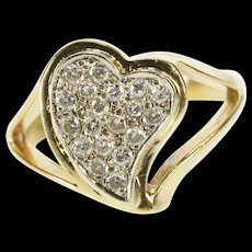 14K Retro Pave Diamond Curved Heart Anniversary Ring Size 7.25 Yellow Gold [QRXR]