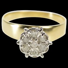 10K Round Diamond Cluster Retro Promise Ring Size 6 Yellow Gold [QRXR]