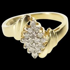 10K Diamond Squared Cluster Freeform Bypass Ring Size 6 Yellow Gold [QRXR]