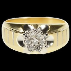 14K Men's Diamond Round Cluster Wedding Band Ring Size 9.75 Yellow Gold [QRXR]