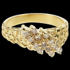 14K Diagonal Diamond Cluster Textured Nugget Ring Size 3.75 Yellow Gold [QRXR]