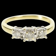 10K Classic Three Stone Diamond Engagement Ring Size 6.75 Yellow Gold [QRXR]