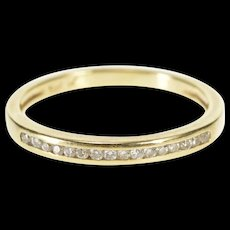 10K Classic Diamond Channel Inset Wedding Band Ring Size 8.5 Yellow Gold [QRXR]