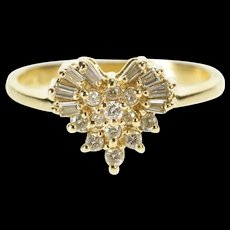 14K 0.25 Ctw Diamond Heart Anniversary Gift Ring Size 5.25 Yellow Gold [QRXR]