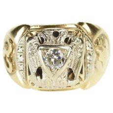 10K Masonic Two Tone 32nd Degree Mason Diamond Ring Size 10 Yellow Gold [QWQQ]