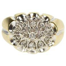10K Retro Men's Diamond Oval Cluster Fashion Ring Size 10.25 Yellow Gold [QRXR]