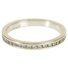 14K Diamond Channel Classic Design Wedding Band Ring Size 5 White Gold [QWQQ]