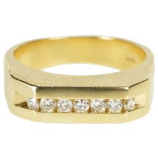 14K 0.42 Ctw Diamond Channel Men's Textured Band Ring Size 9 Yellow Gold [QWQQ]