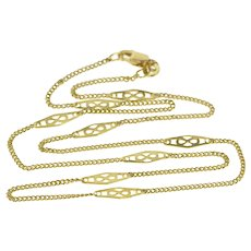 """14K 1.3mm Ornate Link Curb Chain Fashion Necklace 16.25"""" Yellow Gold  [QWQQ]"""