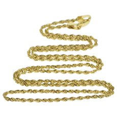 """14K 1.6mm Rope Chain Spiral Twist Link Necklace 17.75"""" Yellow Gold  [QRXS]"""