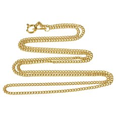 """14K 1.5mm Curb Link Fancy Fashion Chain Necklace 15.75"""" Yellow Gold  [QWQQ]"""