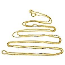 "14K 0.8mm Square Chain Fashion Box Link Necklace 24"" Yellow Gold  [QWQQ]"