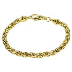 "18K 5.7mm Spiga Wheat Palma Link Chain Bracelet 7.75"" Yellow Gold  [QWQQ]"