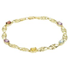 "14K Rainbow Gemstone Fancy Link Fashion Bracelet 7"" Yellow Gold  [QWQQ]"