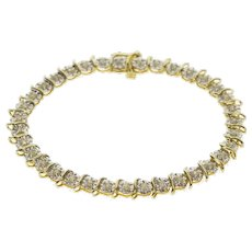 "10K Diamond Wavy Link Inset Burst Tennis Bracelet 7"" Yellow Gold  [QWQQ]"