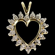 10K Diamond Inset Burst Design Heart Anniversary Pendant Yellow Gold  [QRXS]