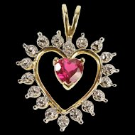 10K Heart Cut Syn. Ruby Diamond Accent Romantic Pendant Yellow Gold  [QRXS]