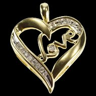 10K Diamond Inset Love Heart Anniversary Gift Pendant Yellow Gold  [QRXS]