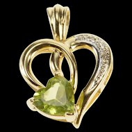 14K Peridot Diamond Heart Romantic Anniversary Gift Pendant Yellow Gold  [QRXS]