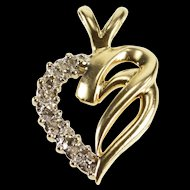 10K Diamond Inset Wavy Curvy Heart Love Pendant Yellow Gold  [QRXS]