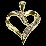 10K Channel Diamond Curvy Love Symbol Heart Pendant Yellow Gold  [QRXS]