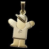 14K Diamond Two Tone Child Kid Cartoon Design Pendant Yellow Gold  [QRXS]