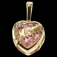 10K Pink Cubic Zirconia Heart Mom Diamond Accent Pendant Yellow Gold  [QRXS]