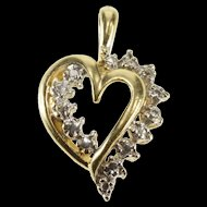 10K Heart Love Symbol Romantic Gift Diamond Accent Pendant Yellow Gold  [QRXS]