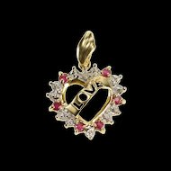 10K Love Banner Ruby Diamond Heart Anniversary Pendant Yellow Gold  [QRXS]