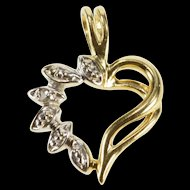10K Diamond Inset Petal Curvy Heart Love Symbol Pendant Yellow Gold  [QRXS]