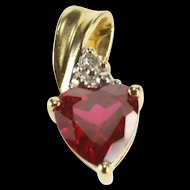 10K Heart Cut Syn. Ruby Diamond Accent Love Symbol Pendant Yellow Gold  [QRXS]