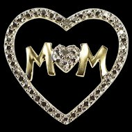 10K Diamond Inset Heart Mom Mother's Day Gift Pendant Yellow Gold  [QRXS]