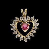 10K Diamond Accent Syn. Ruby Heart Love Symbol Pendant Yellow Gold  [QRXS]