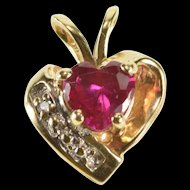 14K Diamond Accent Syn. Ruby Heart Love Symbol Pendant Yellow Gold  [QRXS]