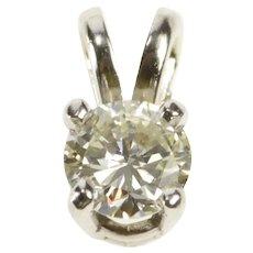 14K Round Brilliant Cut Diamond Prong Set Solitaire Pendant White Gold  [QRXS]