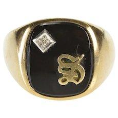 10K Black Onyx Diamond S Overlay Men's Fashion Ring Size 10 Yellow Gold [QRXR]