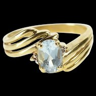 10K Oval Blue Topaz Diamond Accent Freeform Ring Size 6.25 Yellow Gold [QRXS]