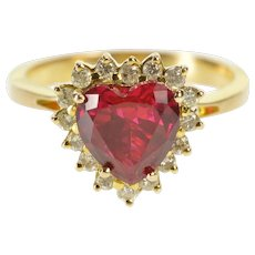 14K Retro Heart Syn. Ruby Diamond Halo Cocktail Ring Size 6.5 Yellow Gold [QWQQ]