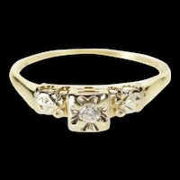 14K Retro Squared Diamond Solitaire Promise Ring Size 9.25 Yellow Gold [QRXR]