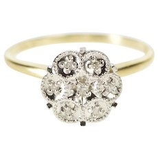 10K Retro Diamond Round Cluster Fashion Cocktail Ring Size 6 Yellow Gold [QWQQ]