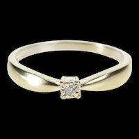 10K Diamond Solitaire Classic Anniversary Promise Ring Size 6.75 White Gold [QRXR]